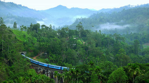 Train passing old Nine Arches Bridge. Famous travel destination in Sri Lanka Footage