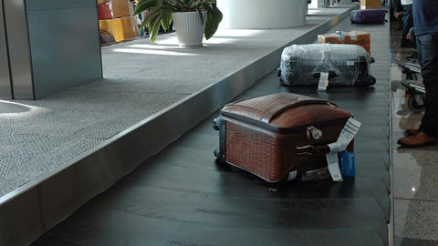 Luggage travels on a conveyor belt Footage