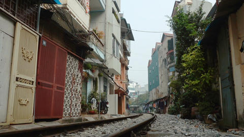 View of the Railway that passes through the center of Hanoi Footage