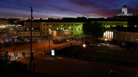 Easy night traffic in Helsinki, view from Kanavapuisto park to Kanavakatu bridge