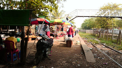 Yangon - trade and motion in railway station time lapse Live Action