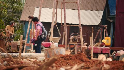 Builders at work in Yangon - Myanmar house building time lapse Footage