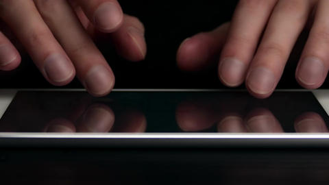 4K Man Types Text Message on Electronic Tablet Footage