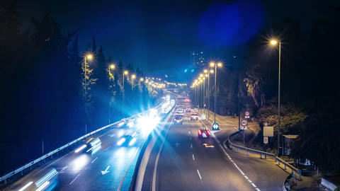 Night traffic in Marbella, Spain Footage