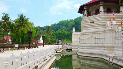 Temple of the Tooth Relic (Sri Dalada Maligava) panning video. Kandy, Sri Lanka Footage