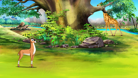 Antelope Grazing in the Meadow UHD Animation