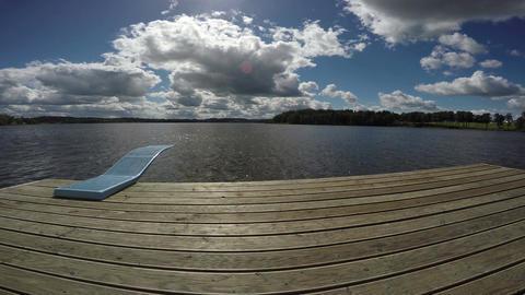 Springboard to resort summer lake, 4K Filmmaterial