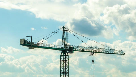 Beautiful time lapse of crane on industrial construction yard Filmmaterial