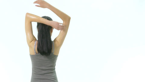 Woman stretching arms side 1 Filmmaterial