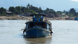 A boat on the Irrawaddy river,Irrawaddy,Burma Footage