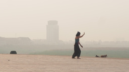 Tourist does exercise in the morning at Vientiane,Vientiane,Laos Footage