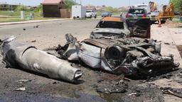 Marine AV-8B Harrier crash scene in Imperial, California Stock Video Footage