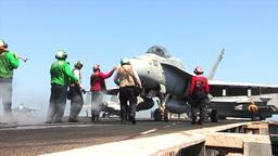 F-18 Hornet USS George H.W. Bush (CVN 77) aircraft... Stock Video Footage
