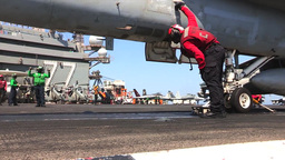 F-18 Hornet USS George H.W. Bush (CVN 77) aircraft carrier operations Footage