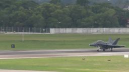 F18 Hornet Military Fighter Jets take off and land Stock Video Footage