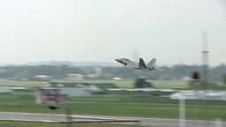 F-22 Raptor stealth fighter jet take off Stock Video Footage