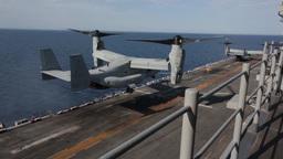 MV-22 Osprey tiltrotor helicopter, landing Footage