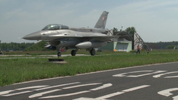 F-16 fighting falcon Polish Pilots Taking Off Stock Video Footage