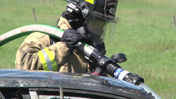 Fire fighters Vehicle Burn Training, fireman Stock Video Footage
