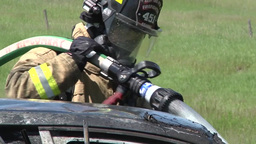 Fire fighters Vehicle Burn Training, fireman Footage