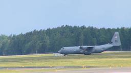 C-130 Hercules Aircraft Lands at Lielvarde Air Base, Latvia Stock Video Footage