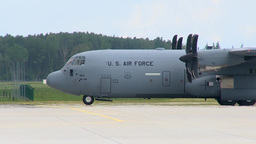 C-130 Hercules Aircraft Lands at Lielvarde Air Base, Latvia Stock Video Footage