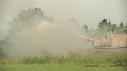 Paladin tank Firing gun Footage