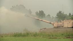 Paladin tank Firing gun Stock Video Footage