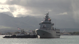 The Royal Brunei Navy arrive in Pearl Harbor Stock Video Footage