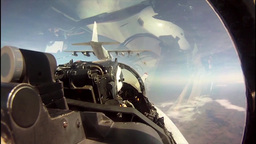 KC-130 aircraft refueling F/A-18 jets mid-air cockpit footage Footage