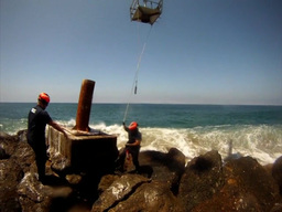 Coast Guard Helicopter Crews Repair Aid to Navigation Stock Video Footage