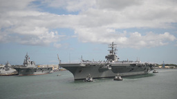 aircraft carrier USS Ronald Reagan Joint Base Pearl... Stock Video Footage