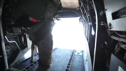 Free-fall and static-line jump from CH-46 Sea Knights Stock Video Footage