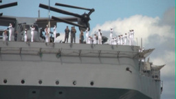 USS Peleliu Arrives at Pearl Harbor Stock Video Footage