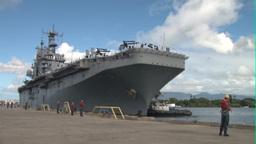 USS Peleliu Arrives at Pearl Harbor Stock Video Footage