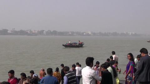 passenger boats with people on Hoogly river near Dakshineswar Kali temple, Kolka Footage