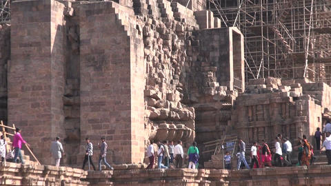 Many Sunday peoples in medieval UNESCO heritage, ruined temple of Sun god, Odish Footage