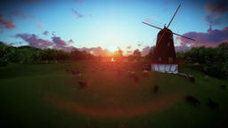 Sheeps and windmill on green meadow, sunset Animation