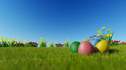 Easter eggs on green meadow over blue sky, panning, Luma Matte attached Animation