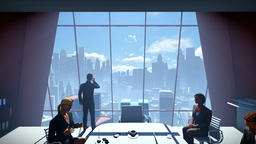 Business People Team, Rear View Cityscape, dolly shot Animation