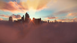 City skyline above clouds, timelapse sunrise Animation