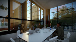 Business team meeting in conference room, evening, panning Animation
