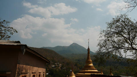 Clouds motion view from Popa hill of Myanmar time lapse Footage