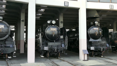 Old Train Locomotive And Engine At Kyoto Railway Museum Japan Filmmaterial