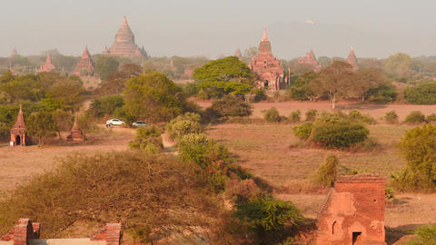 Bagan of Myanmar Pagodas and temples observation dolly shot from top view Footage