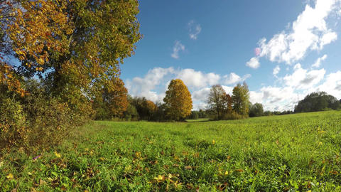 Clouds moving over autumnal fields, 4K time lapse Footage