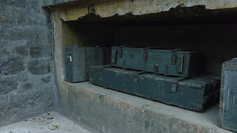 Old bunkers and boxes of ammunition Footage