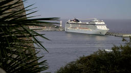 Europe Spain Balearic Ibiza towns and villages 117 cruise ship in harbor Footage