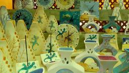 Europe Spain Balearic Ibiza hippy market es canar 122 clocks and vases Footage