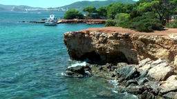 Europe Spain Balearic Ibiza coves and landscapes 133 Es Canar cliff Footage